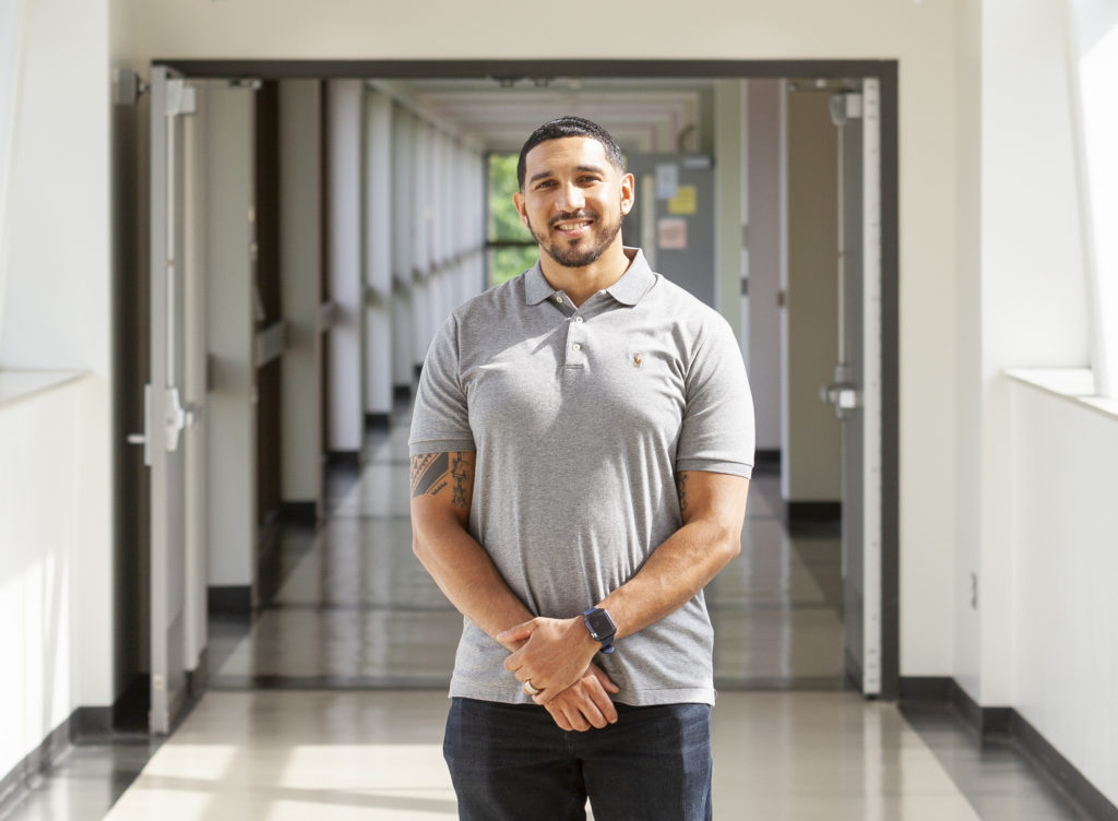Carlos Vasquez began taking WCC classes and studying during the day while continuing to work as a full-time custodian on the midnight shift at Michigan Medicine's University Hospital, catching a brief nap in his car before his morning classes.